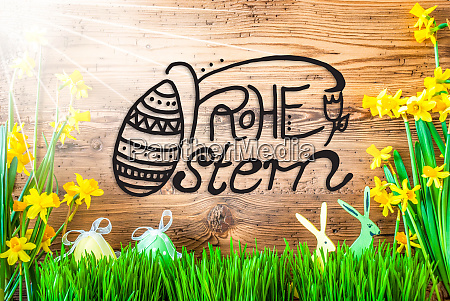 sunny easter decoration calligraphy frohe ostern