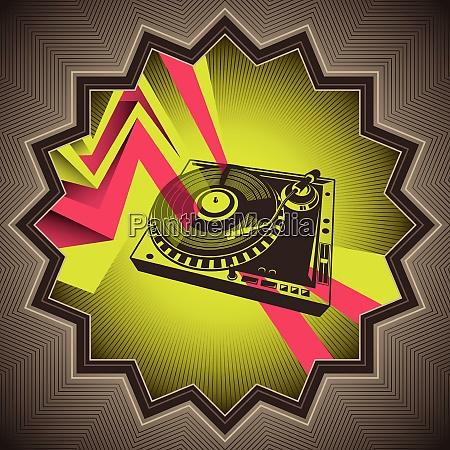 Vektordatei, Grafik, Vinyl, Zacken, Schallplattenspieler