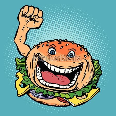 froehlicher charakter fast food burger