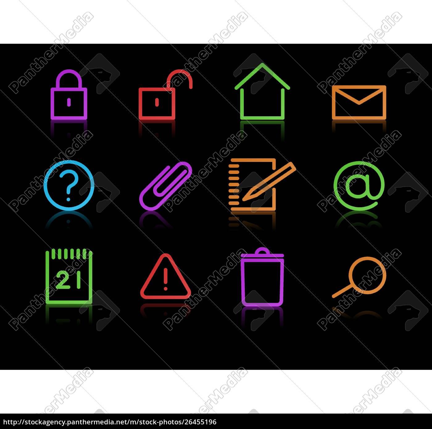 vektorsatz, eleganter, neon-symbole, für, gängige, computerfunktionen - 26455196