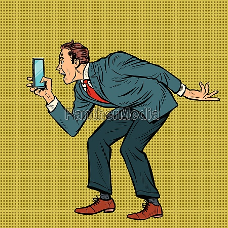 man funny photographs smartphone