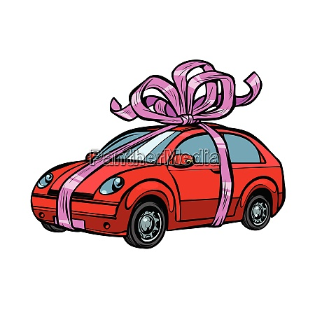 car gift transport tied with festive