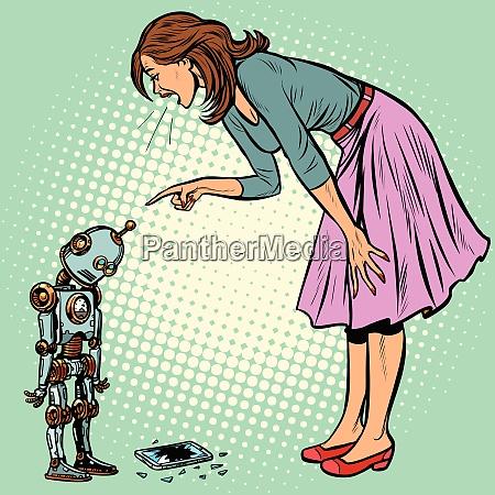 roboter brachen das telefon frau schimpft