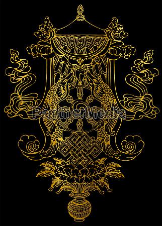 tibet symbolik buddha ewige meditation schwarzen