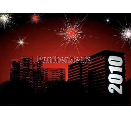 skyline der stadt mit neujahrsfeiern und