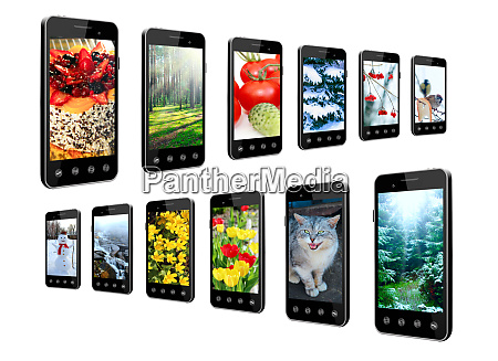 smartphones with different photo in rows