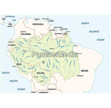 vektorkarte des einzugsgebiets des amazonasflusses