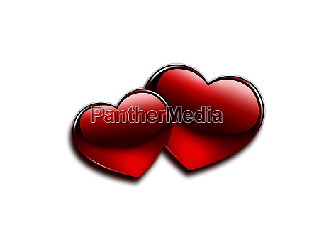 glossy red heart and valentine day