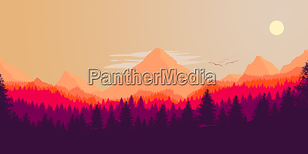 wald und berge silhouette vektor illustration