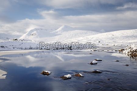 a wintery scene of black mount