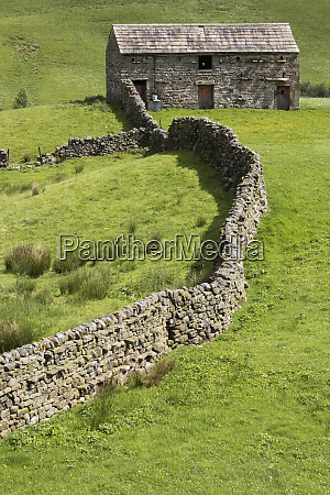 traditional stone field barn or laithe