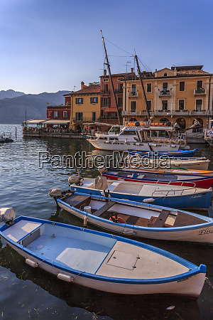 view of boats in malcesine harbour