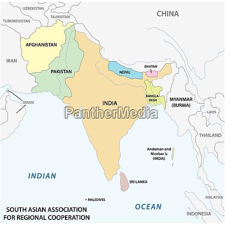 vektorkarte der south asian association for