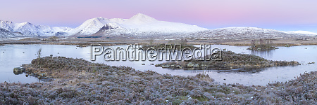 pink sunrise and snow covered black