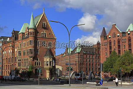 speicherstadt hafencity district hamburg germany europe