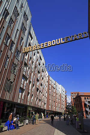 ubersee quarter hafencity district hamburg germany