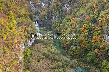 korana river near plitvice lakes during