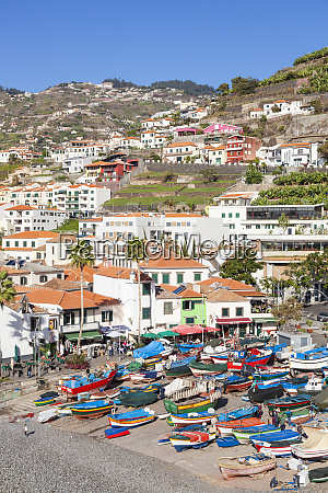 traditional colourful fishing boats on the