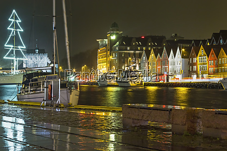 vagen harbour at night with the