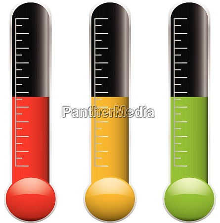 satz von drei thermometern mit skala