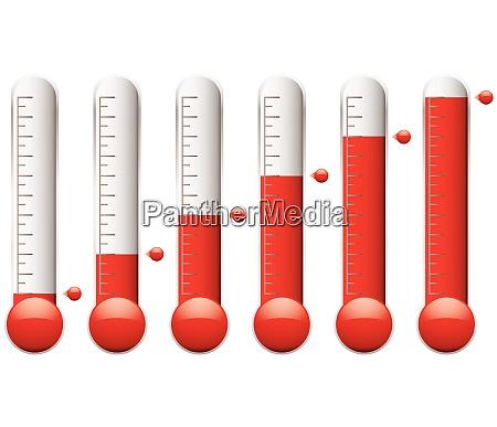 satz von thermometern mit unterschiedlichen ebenen