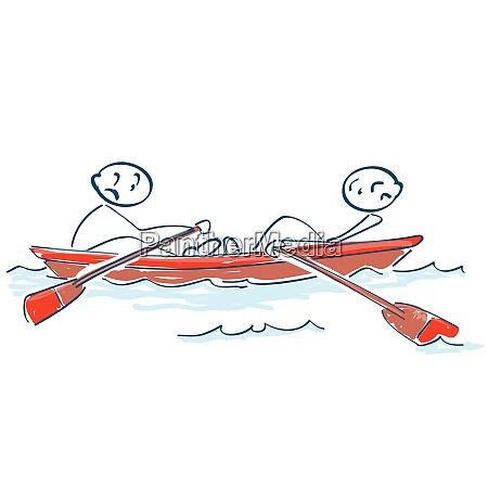 stockfiguren rudern in einem boot gegeneinander