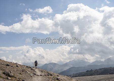 russia caucasus mountaineer hiking in upper