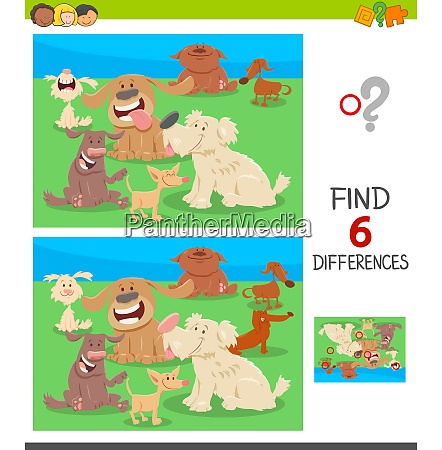 find differences game with cartoon dogs