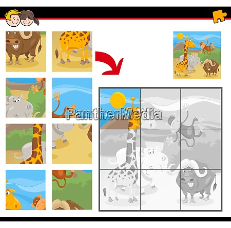 jigsaw puzzles with cartoon wild animals