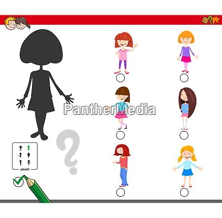 shadows game with cartoon kid girl