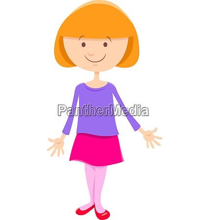 child or teen cute girl cartoon