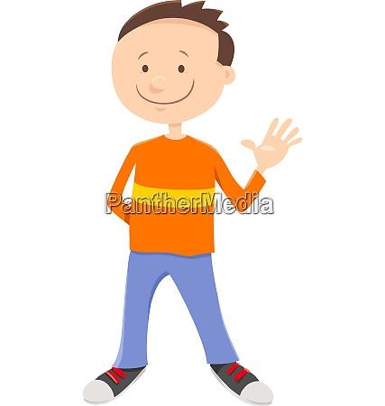 cartoon kid or teen boy