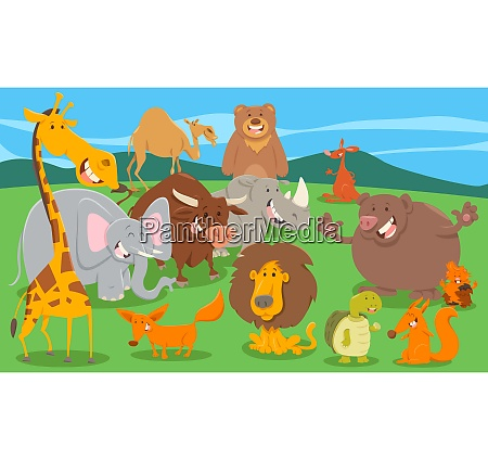 wild animal characters group in the
