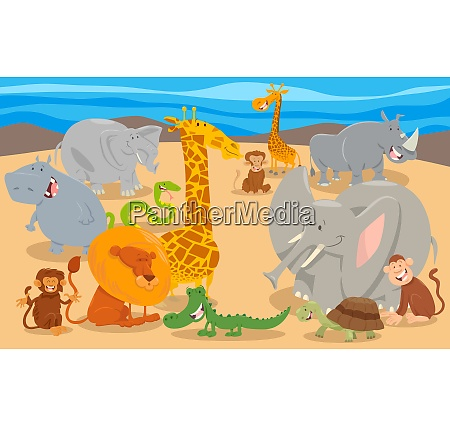 funny cartoon animal characters group