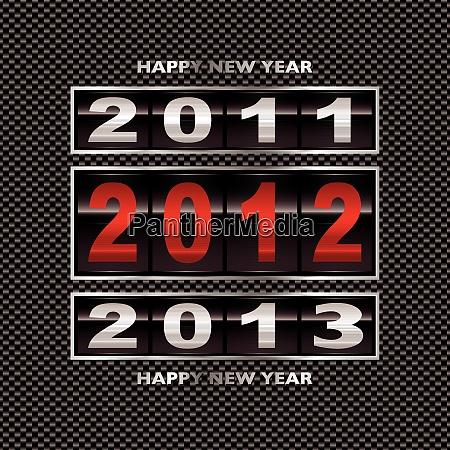 moderner kohlefaser hintergrund mit neujahrszaehler 2012