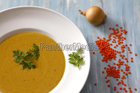 dish of red lentil soup