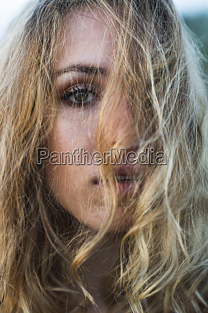 close up of beautiful blond young