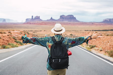 usa utah man with backpack standing