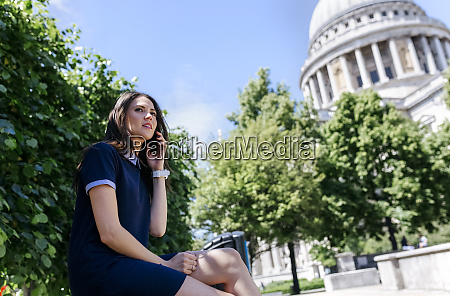 uk london young woman talking on