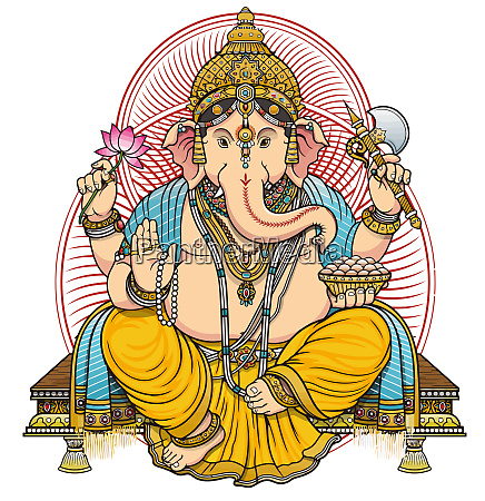 seated ganesha hindu lord bless