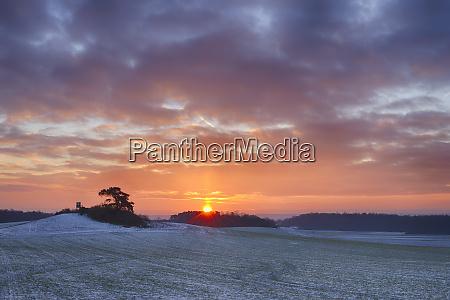 germany bavaria sunrise over rural landscape