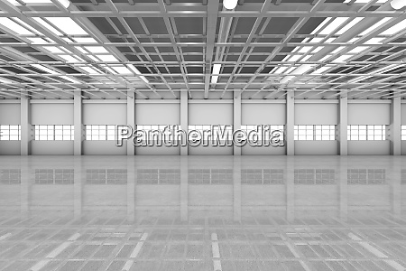 architecture visualization of an empty warehouse