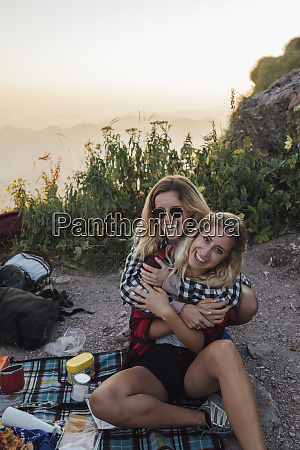 switzerland grosser mythen two happy girlfriends