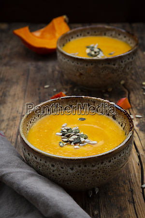 pumpkin soup with pumpkin and sunflower