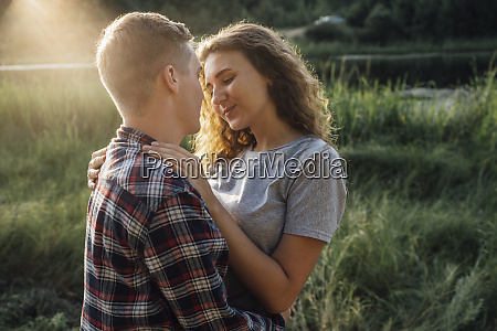romantic couple spending time in nature