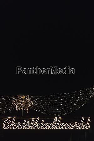germany munich lighted sign of christkindlmarkt