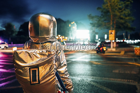 rear view of spaceman on a