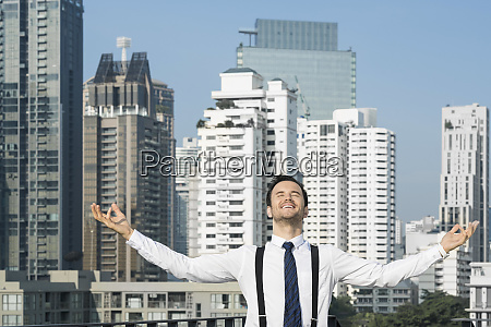 happy and content successful business man