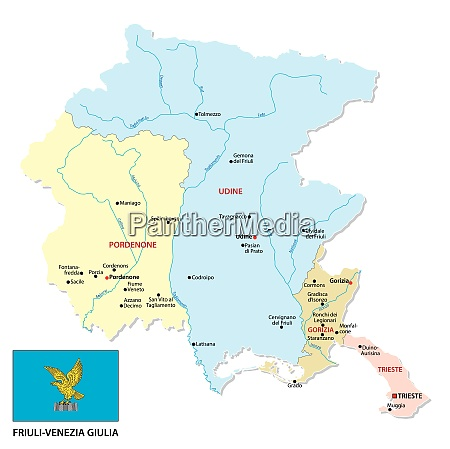 friuli venezia giulia administrative politische karte