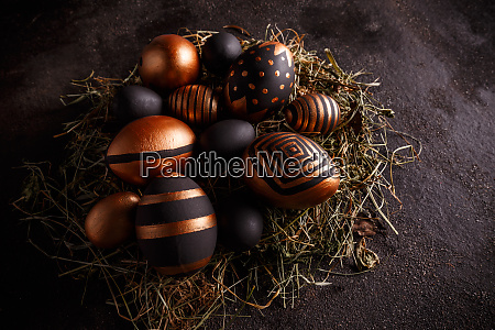 easter golden and black eggs